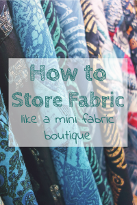 Use comic boards to fold fabric around for uniform storage and get a fabric boutique look