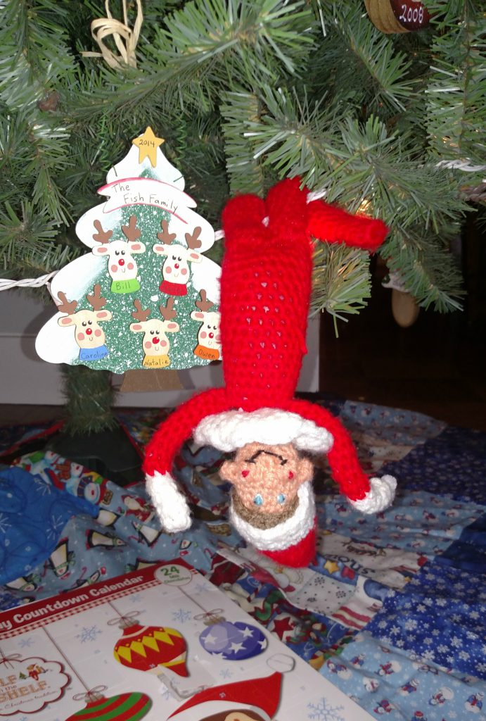 handmade crocheted elf on the shelf