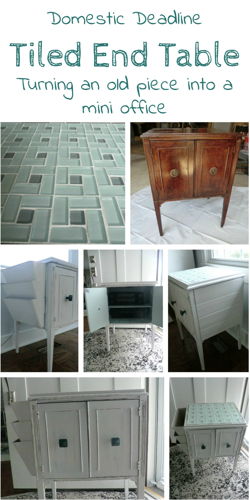 How to Turn an End Table into a Mini Office with Tile Top