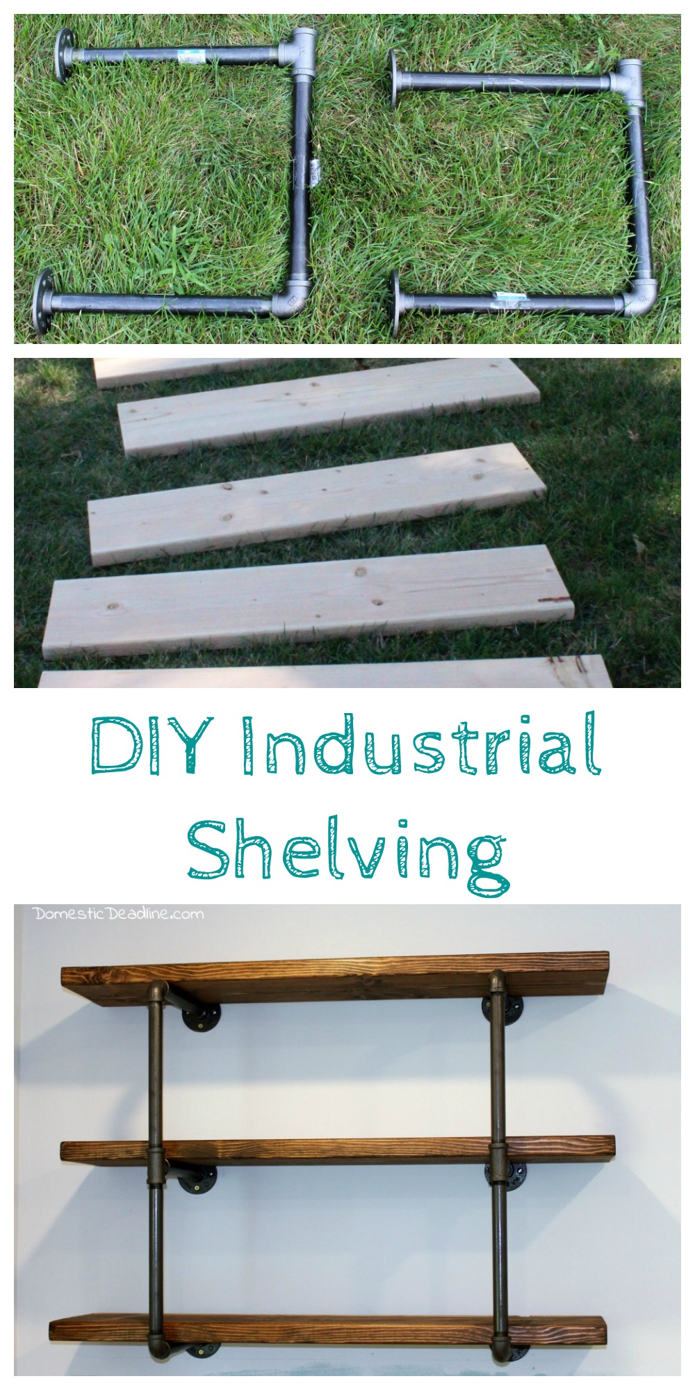 Diy industrial shelving farmhouse kitchen fixer upper for Diy industrial