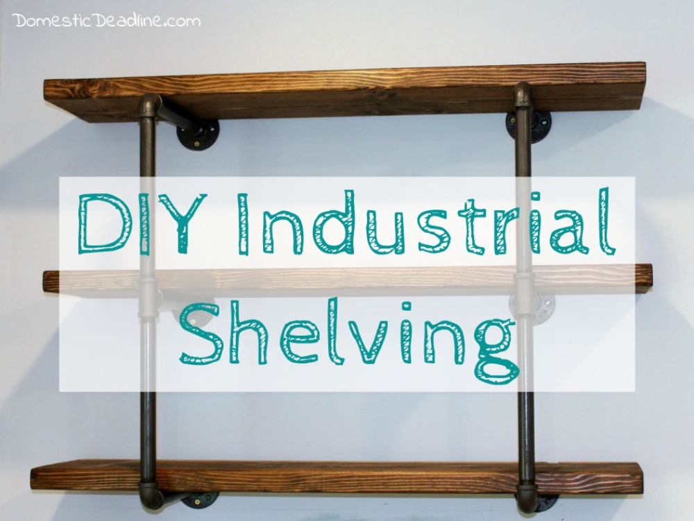Using iron pipe, thick wood planks, spray paint and stain, I created the perfect industrial shelving for my DIY farmhouse kitchen. I'll show you how on Domestic Deadline