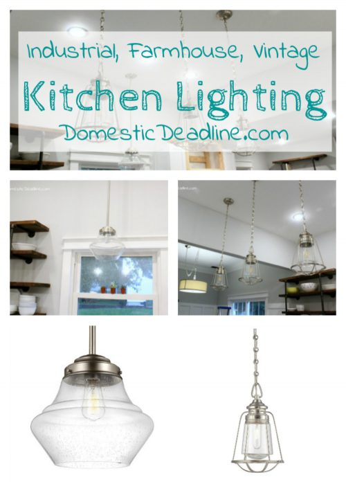 The pendant lights are pulling my fixer upper kitchen together. Combining brushed nickel and glass into the vintage, industrial, farmhouse look I love