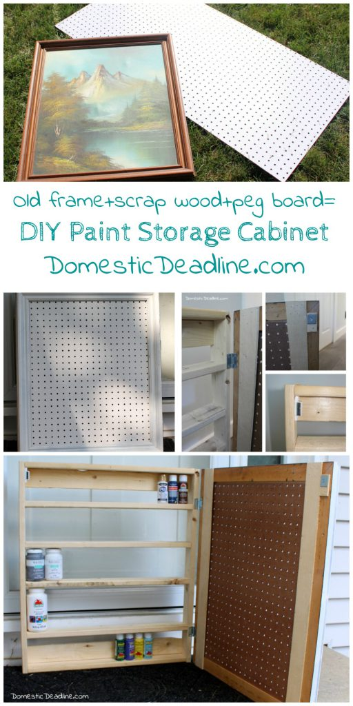 Using an old frame, a piece of pegboard and some scrap lumber I'll show you how I created a cabinet to store paint and organize craft supplies - Domestic Deadline