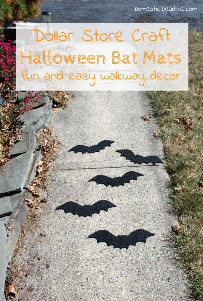 Try this simple dollar store craft using doormats! Easily turn them into bat walkway mats for festive Halloween decor. Quick, fun, and cheap! Domestic DeadlineTry this simple dollar store craft using doormats! Easily turn them into bat walkway mats for festive Halloween decor. Quick, fun, and cheap! Domestic Deadline