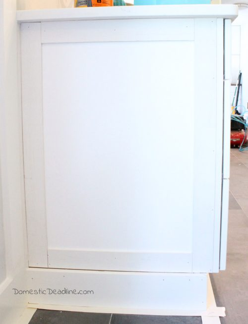 DIY End Panels - Cost effective solution to customize kitchen cabinets for my farmhouse fixer upper kitchen - Domestic Deadline