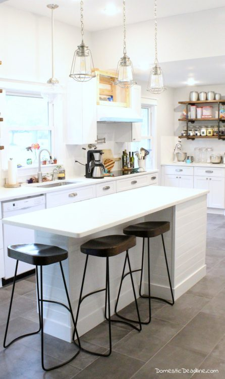 Using standard cabinets and some basic construction tools I'll show you how I customized my kitchen island to have the farmhouse feel I wanted - Domestic Deadline