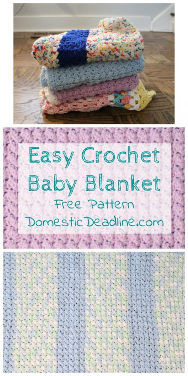 Easy crochet baby blanket great for using up yarn you have on hand. Free Pattern! Plus, lots of great ideas for using the craft supplies you already have. Domestic Deadline