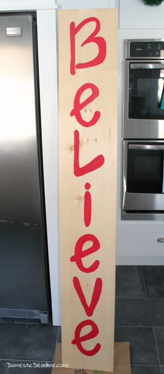 """DIY giant """"Believe"""" sign for a festive Christmas front porch - Domestic Deadline"""