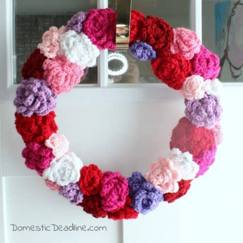 Crocheted Roses Wreath Valentine's Day - Domestic Deadline