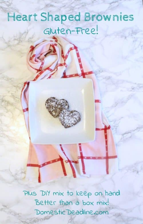 Make up a batch of heart-shaped gluten-free brownies, or better yet keep the dry mix on hand! So much better and less expensive than a box mix and a perfect Valentine's day treat. - Domestic Deadline